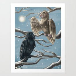 Winter Ravens Art Print