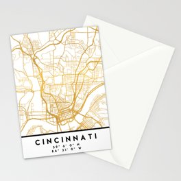 CINCINNATI OHIO CITY STREET MAP ART Stationery Cards