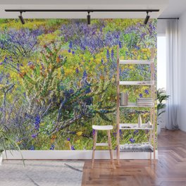 Staghorn Cholla Amid the Desert Wildflowers Wall Mural
