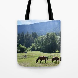 Horses grazing in a mountain meadow Tote Bag