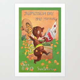Bear celebrating at the Admission Day Festival of 1910 in San Francisco Art Print