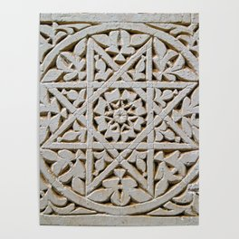 Carved Islamic Geometrical Pattern With A Star In A Circle Poster