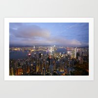 hong kong Art Prints featuring Hong Kong by iamkin