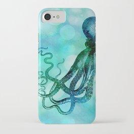 Octopus blue green mixed media underwater artwork iPhone Case