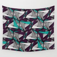 arya Wall Tapestries featuring Hexagonal graphic lines - darker by Hinal Arya
