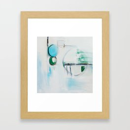 No. 12 Blue Emerald Ombre Pastel Abstract Painting  Framed Art Print