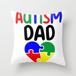 Autism dad puzzle pieces colorful Throw Pillow