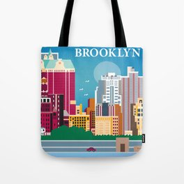 Brooklyn, New York - Skyline Illustration by Loose Petals Tote Bag