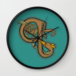 Celtic Hound Letter Q 2018 Wall Clock