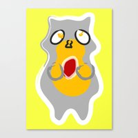 racoon Canvas Prints featuring Racoon by Jessica's Illustrationart