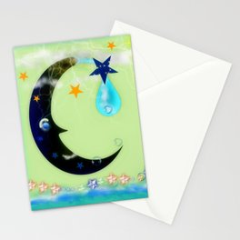 Moon wave Stationery Cards
