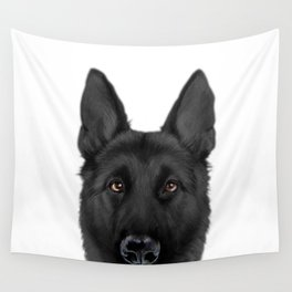 Black German Shepherd, Original painting by miart Wall Tapestry