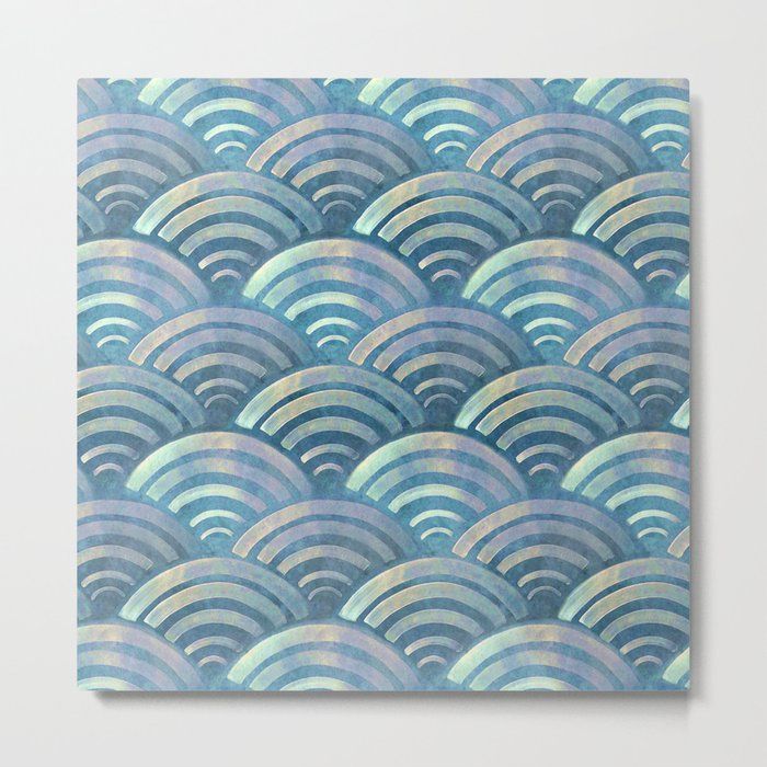 Colorful fish scales pattern Metal Print