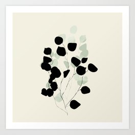 minimal leaves eucalyptus Art Print