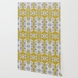 city banner, doodle monster ribbons mustard yellow Wallpaper