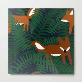 Foxes and Ferns Metal Print