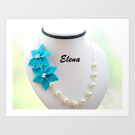 Clay Flower Necklace On Display Art Print