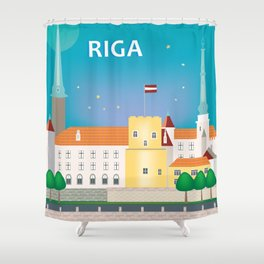 Riga, Latvia - Skyline Illustration by Loose Petals Shower Curtain