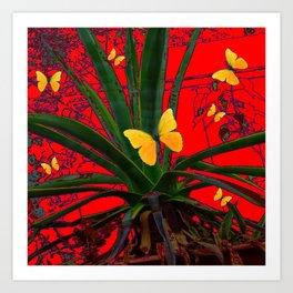 RED SURREAL GREEN AGAVE & YELLOW BUTTERFLIES  ART Art Print