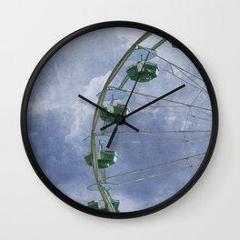 Green Ferris Wheel on Blue Wall Clock