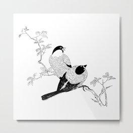 Birds In Black Minimalist Nature Metal Print