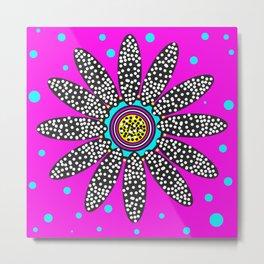 daisy dot with blue spot purple Metal Print