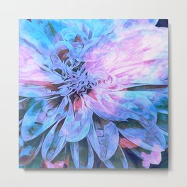 Abstract Floral Pink Blue Metal Print