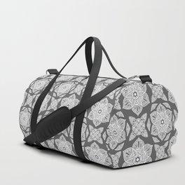 Floral Lotus Mandala Grey Duffle Bag
