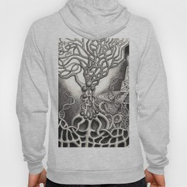 BioTechnological DNA Tree and Abstract Cityscape Hoody