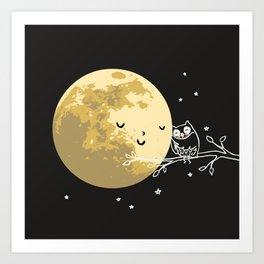 Owl and Moon Kunstdrucke