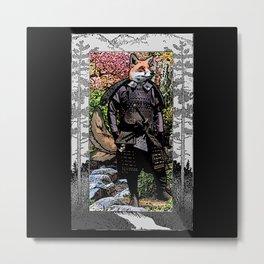 Portrait of a Kitsune Samurai Metal Print