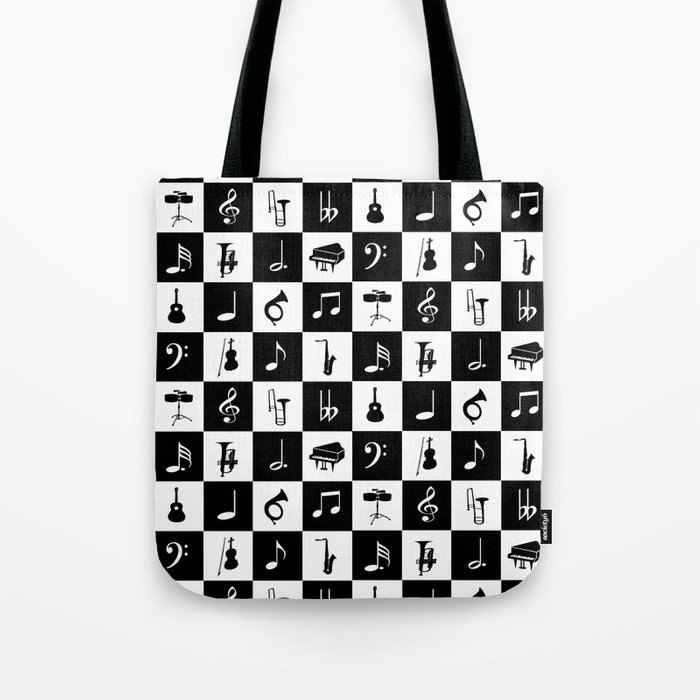 33c8204054 Contemporary Music themed checks Tote Bag by giftsbonanza