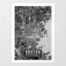 Boston Map With Coordinates Art Print