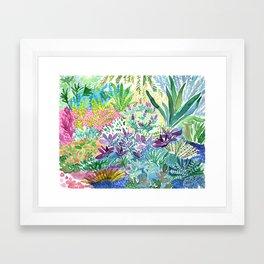 Tropical Garden Watercolor Framed Art Print