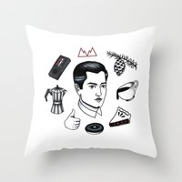 dale cooper Throw Pillows featuring dale cooper collage by Bunny Miele