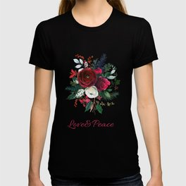 Red burgundy Christmas season floral bouquets love and peace script T-shirt