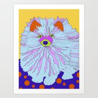 pomeranian Art Prints featuring Pomeranian by Ladybumblebee