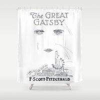gatsby Shower Curtains featuring The Great Gatsby by S. L. Fina