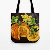 pumpkin Tote Bags featuring Pumpkin by ElenaTerrin