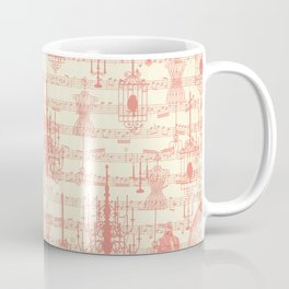 Vintage ivory coral mannequin chandelier music note collage Coffee Mug