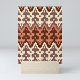 Moroccan Ikat Damask, Brown, Cream Taupe & Rust Mini Art Print