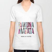 hakuna V-neck T-shirts featuring Hakuna Matata by Amy Copp