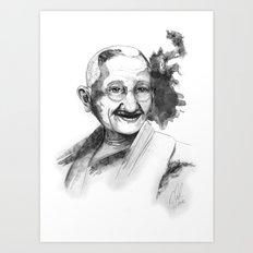 Will & Strength (Ghandi) by carographic Art Print