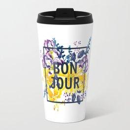 Bonjour floral print Travel Mug