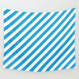 Oktoberfest Bavarian Blue and White Candy Cane Stripes Wall Tapestry