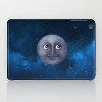 emoji iPad Cases featuring Moon Emoji In Space by HarasiElite