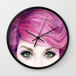 Pink Hair Girl Wall Clock