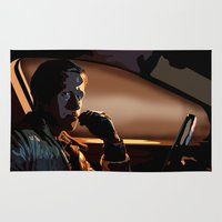 ryan gosling Area & Throw Rugs featuring DRIVE- RYAN GOSLING by MATT WARING