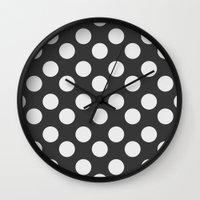 polka dots Wall Clocks featuring Polka Dots by Nobu Design
