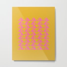 Geometric Triangle Pattern in Sunny Yellow and Neon Pink Metal Print